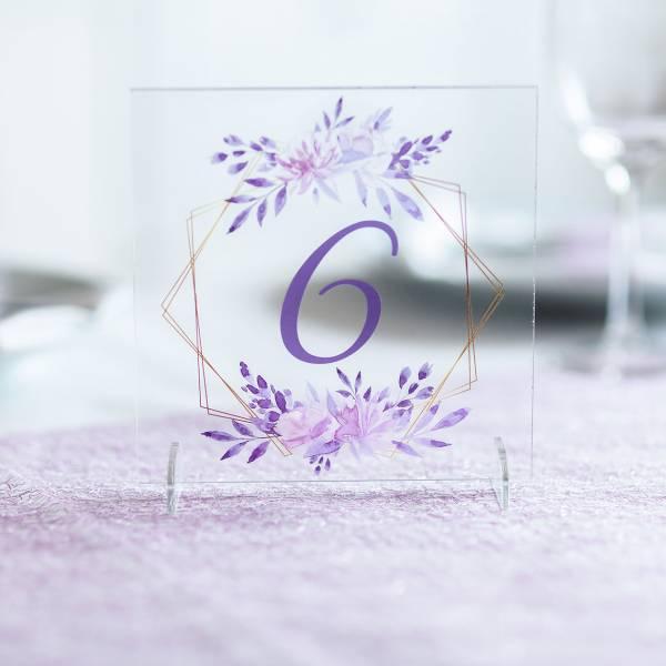 Tischnummer aus Acrylglas mit hochwertigem Aufdruck