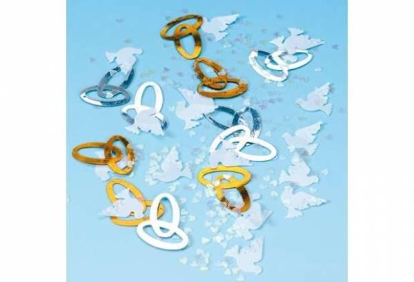 Dekokonfetti Ringe und Tauben