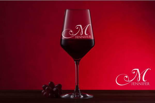 Rotweinglas Monogramm