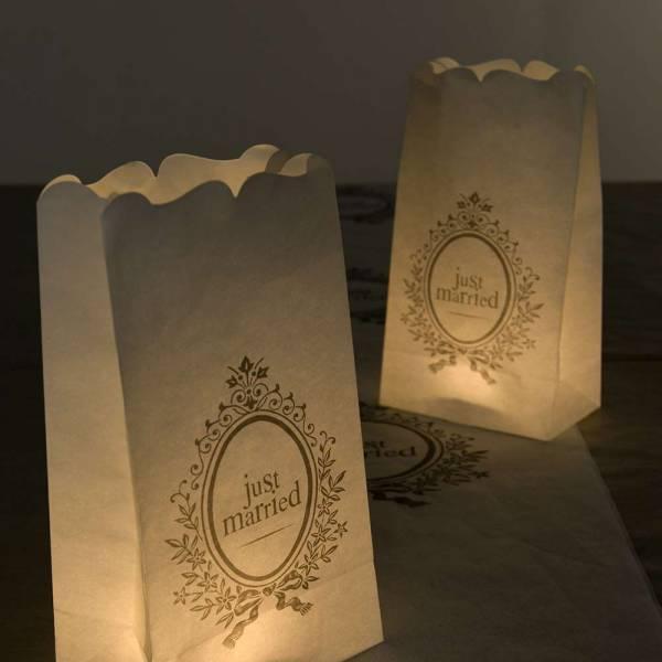 Lichttüte Candle Bag Just married
