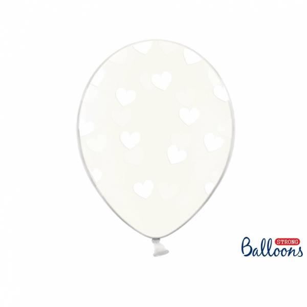 50 kristallklare Luftballons mit Herzen