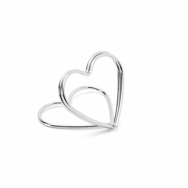 Tischkartenhalter Metallic Heart Silber
