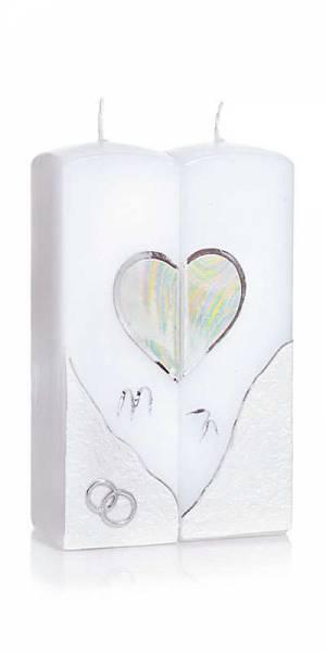 Hochzeitskerze Silver Heart