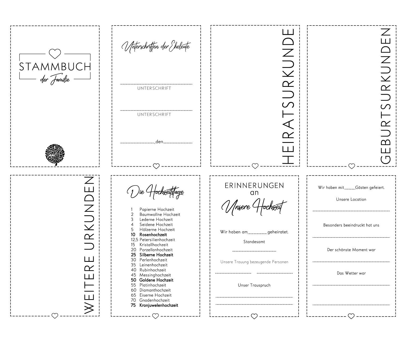 Personalisierung Bezug Leinen Nr Creme 79 Hochzeitideal Stammbuch der Familie A4 inkl