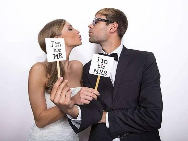 Fotoschild für Brautpaare