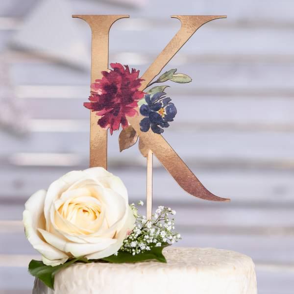 Tortenfigur Floral Monogram