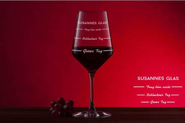 Rotweinglas Guter Tag