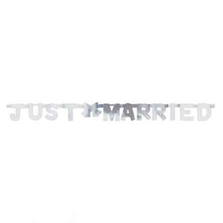 Girlande Just Married silber
