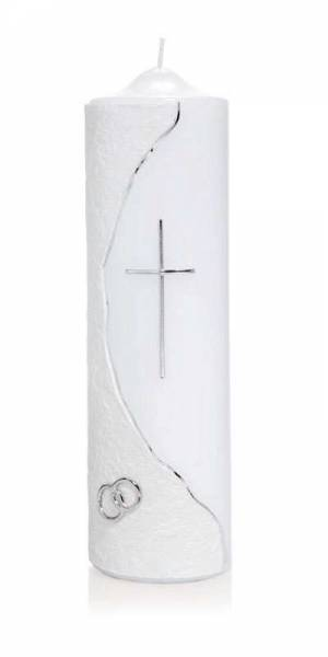 Hochzeitskerze Silbernes Kreuz