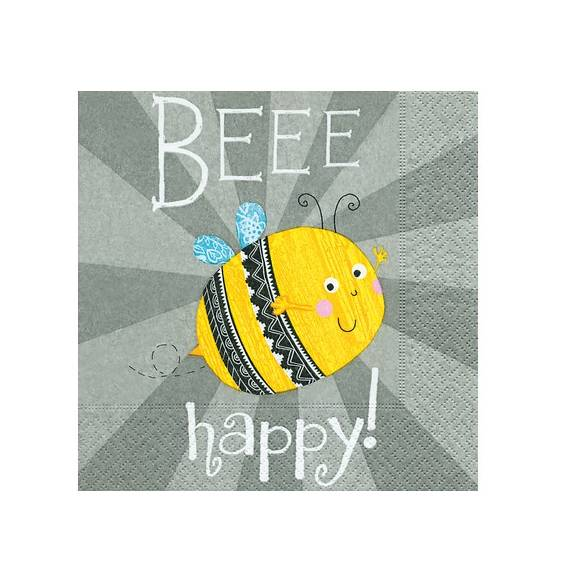 Serviette Beee Happy 33 x 33 cm