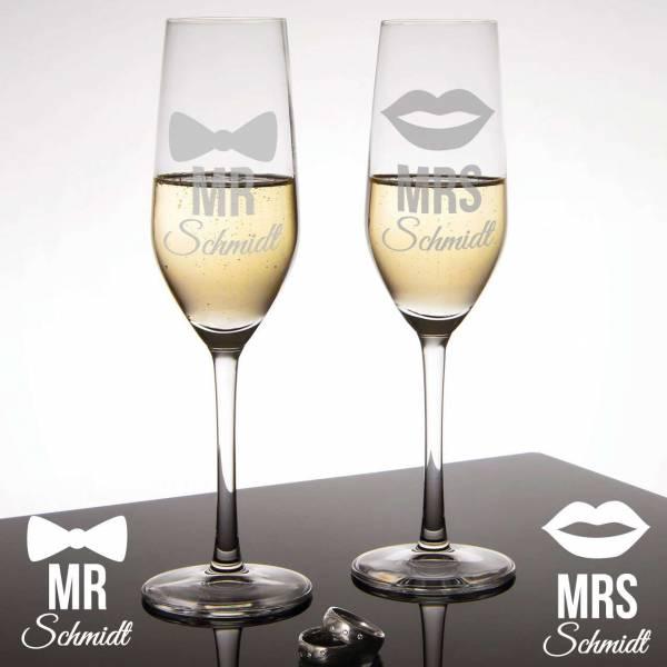 Sektgläser Mr&Mrs