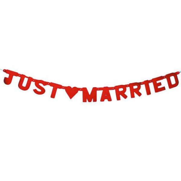 Girlande Just Married Red