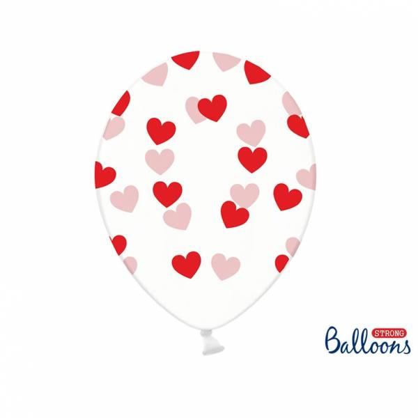 Kristallklare Luftballons mit Herzen
