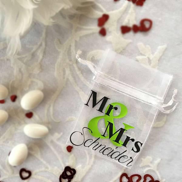 Tüllsäckchen mit Motivwahl MR und MRS