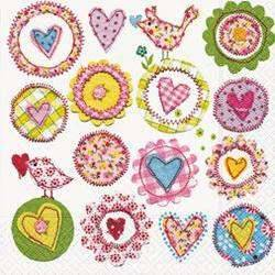 Servietten Lovely Hearts