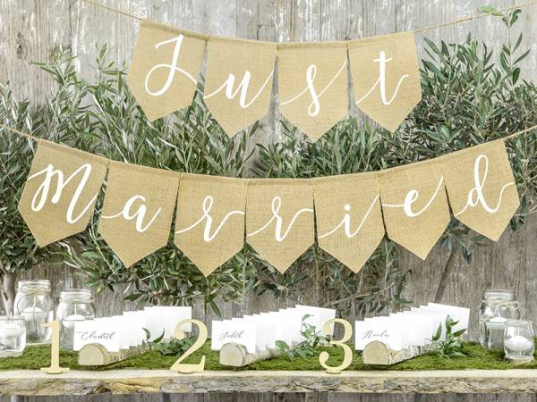 Girlande Just Married Jute